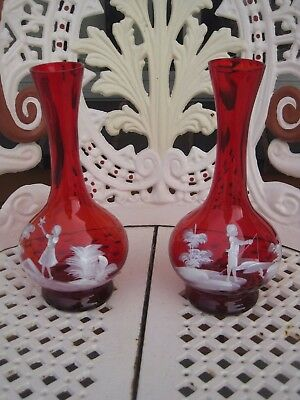 """""""mary Gregory"""" Large Pair Of Male & Female Ruby Red Glass Vases"""