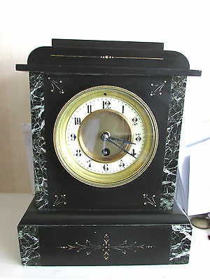 Victorian Slate Mantle clock. Beautiful Marbling.Nice Small size.Super condition