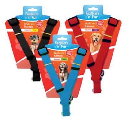 Dog Harness Strong Adjustable Comfortable Black Blue Red Nylon UK