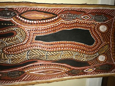 Aboriginal Bark Painting Old Large Stable Bark Artist unknown No. 2