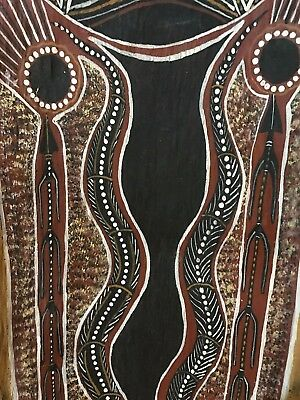 Aboriginal Bark Painting Old Large Stable Bark Artist unknown