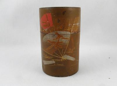 Antique Toleware Painted Tin Tea Caddy Jar Canister 3 Pcs. Japanese