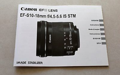 Canon EF-S 10-18mm f/4.5-5.6 IS STM Lens manual