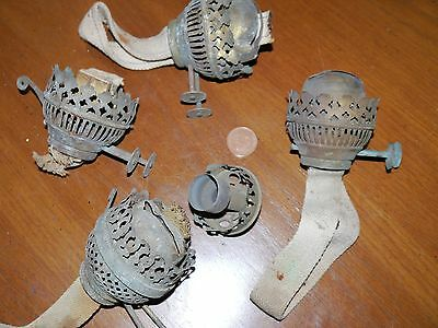 Four Brass Oil Lamp Burners And A Chimney Holder - Oil Lamp Spares - Two Duplex