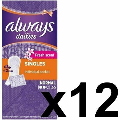 Always Dailies Panty Liners Normal Fresh Scent Individually Wrapped - 240 Pack