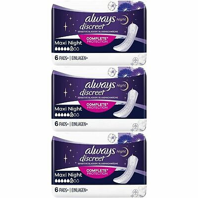 Always Discreet Sensitive Bladder Incontinence Pads Maxi Night Scented - 18 Pack