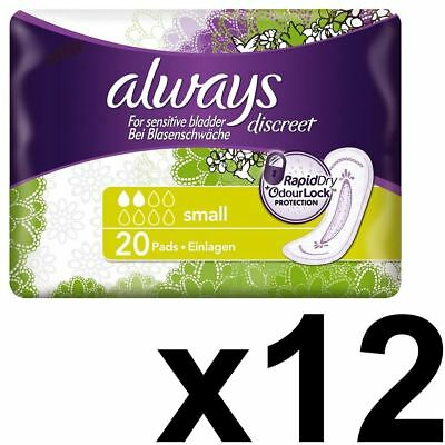 Always Discreet Sensitive Bladder Incontinence Pads Small Odour Lock - 240 Pack