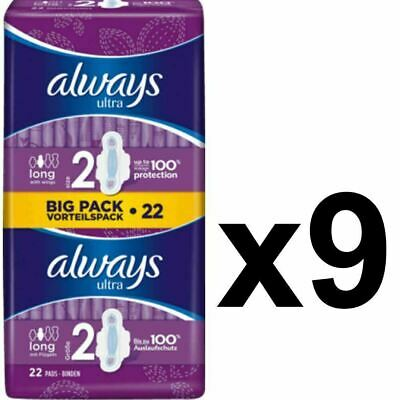 Always Ultra Long Sanitary Towels Pads Size 2 Wings Womens Absorbent - 198 Pack