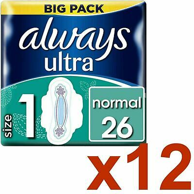 Always Ultra Normal Sanitary Towels Pads Size 1 Wings Women Absorbent - 312 Pack