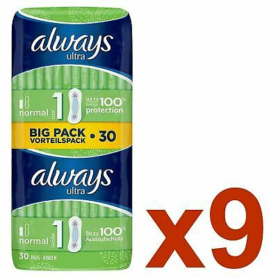 Always Ultra Normal Sanitary Towels Pads Size 1 Women Super Absorbent - 270 Pack