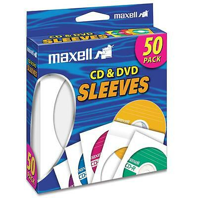 Maxell CD/DVD Sleeves Clear Window 50/PK White 190135