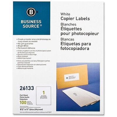 "Business Source Full Sheet Labels 8-1/2""x11"" 100/PK White 26133"