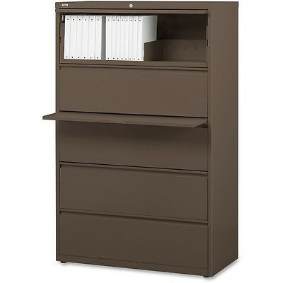 "Lorell Lateral File 5-Drawer 42""x18-5/8""x67-5/8"" Medium Tone 60473"