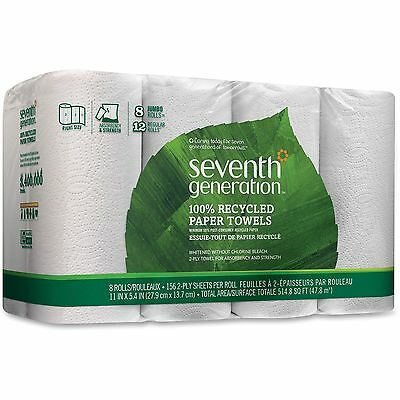 Seventh Generation Rec Paper Towel, 2-Ply, 156 Sheets, 8/PK, White 13739