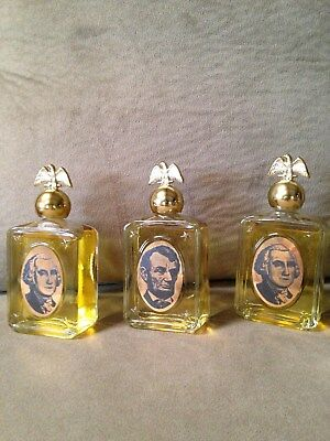 3 Vtg AVON President Decanters Eagle Washington Lincoln FULL After Shave w/box