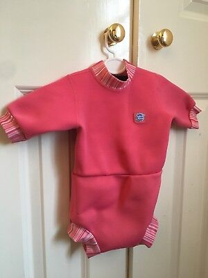 Splash About Happy Nappy Wetsuit Pink Candy Stripe XL 12-24 months RRP £26