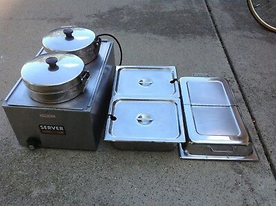 Server Commercial Stainless Steel Double Food Soup Warmer Server W/chafing Pans
