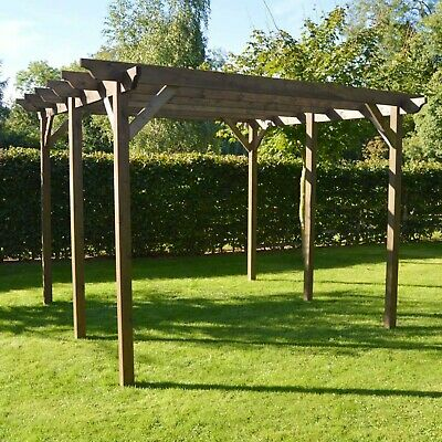 Large  Wooden Notched Outdoor Garden Pergola  6 Posts - Light Green