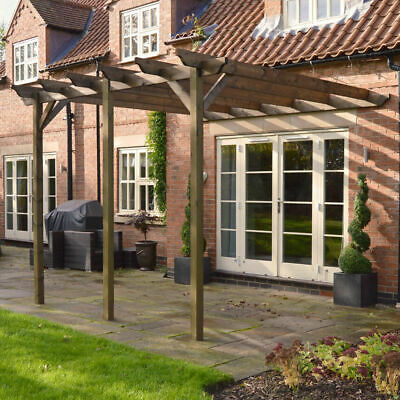 Large Wall Mounted Notched Treated Wooden Garden Pergola - 3 Posts