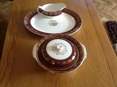 Midwinter Staffordshire Vintage China Serving Plate Two Tureens, Gravy Boat