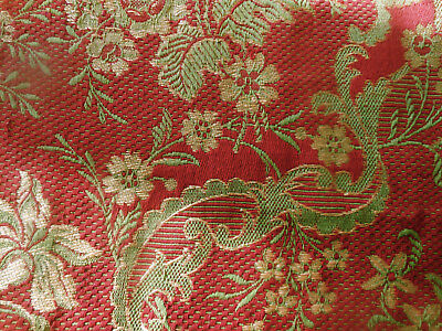 Antique French Floral Garland Woven Tapestry Jacquard Cotton Fabric~ Red Green
