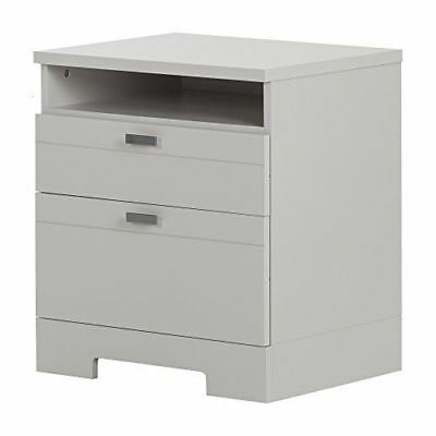 South Shore Furniture 10271 Reevo Nightstand with Drawers & Cord Catcher, Soft G