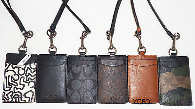 Coach Lanyard LONGER ID Women Men Leather Black Calf Holder Card Case Badge NWT