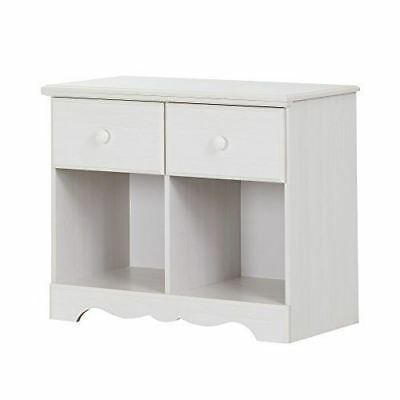 South Shore Furniture Summer Breeze 2-Drawer Double Nightstand, White Wash