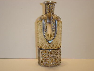Vintage Art Nouveau Style Silver Overlay Diamond Cut Crystal Decanter
