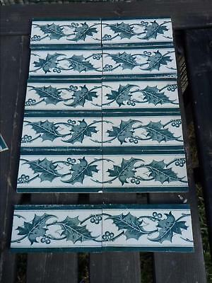12 Carreaux Carrelage Faience Ancien Decor Houx St Amand Hamage Nord