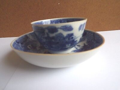 18Th Century Chinese Teabowl And Saucer ,blue And White, Qianlong Period.