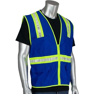PIP Reflective Surveyor Safety Vest with Pockets, Blue
