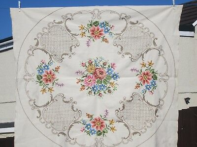 "Lovely Hand Embroidered Tablecloth 57"" x 52"""