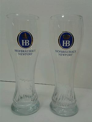 -Set of 2-Hofbrauhaus Newport-Beer Pilsners/Glasses-New with Free Shipping!-