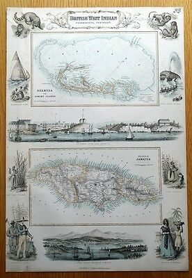 BRITISH WEST INDIAN POSSESSIONS, BERMUDA, JAMAICA, Fullarton  antique map c1865