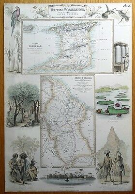 BRITISH  POSSESSIONS in S.AMERICA, GUYANA, TRINIDAD, Fullarton antique map c1865