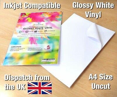 A4 White VINYL INKJET Printable GLOSSY Self Adhesive Waterproof Sticker Sheet