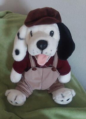 Large Puppy Dog - Dalmation/Black and White - Overalls and Beret