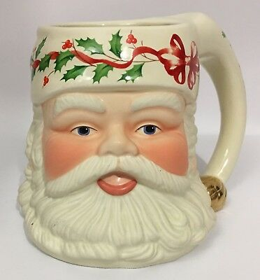 Lenox Santa Claus Figural Toby Coffee Mug First Edition Holly Berry Decorative