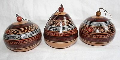 Peruvian Gourd Set of Three Ornaments Hand-Painted Cuzco Art New
