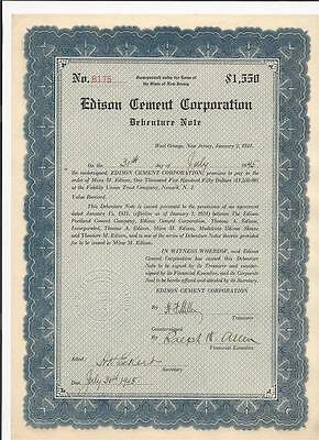 Edison Cement Corp. Bond $1550, 1931 payable to Mina Edison, signed by M. Edison
