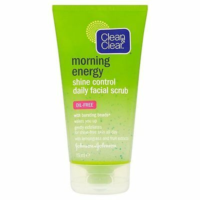 Clean & Clear Morning Energy Shine Control Oil Free Facial Scrub 150ml NEW