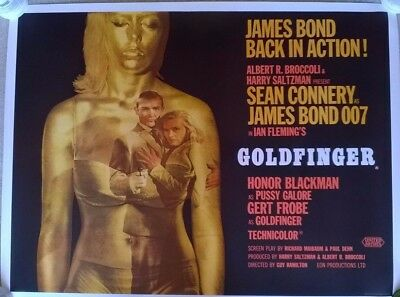 JAMES BOND - GOLDFINGER  , 1964 FIRST RELEASE  BRITISH UK QUAD POSTER .30 x 40