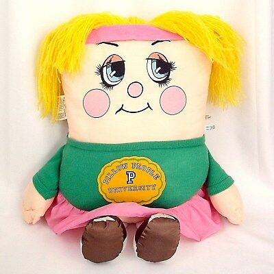 Vtg Pillow People Cheerleader large plush toy 1980s 1985 girl