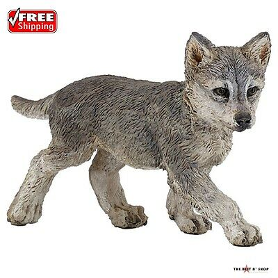 Wolf Cub Toy Figure Animal Statues Wildlife Playfully Hand painted Home Decor