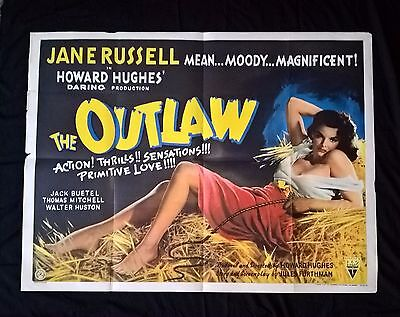 THE OUTLAW (JANE RUSSEL )1943 FIRST RELEASE UK QUAD POSTER .30 x 40.RKO PICTURES