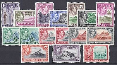 Solomon Islands-1939/51.1/2d -10/- with shades. SG60/72.Very fresh MM.