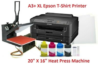 Epson Sublimation A3+ Printer HeatPress Bundle Kit,CISS,16x20 Heat Press,Papers