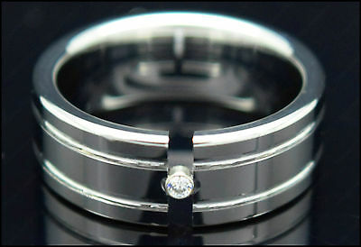 Mens Tungsten Carbide Ring CZ Stone Highly Polished Engraved Wedding Band 8mm