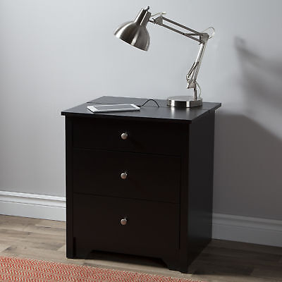 South Shore Furniture Vito Nightstand with Charging Station and Drawers, Black